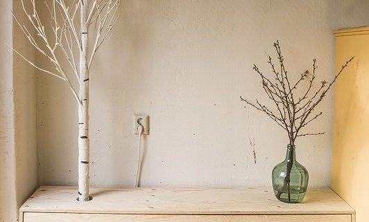 houten schoenenkast met berkenboom