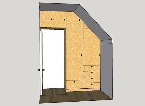 Kleidingkast op maat onder schuin dak