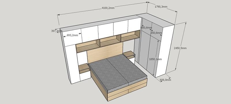 slaapkamerkasten met bed en bedkastjes op maat