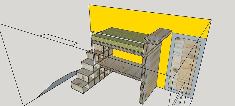 hoogslaper met bureau en boekenkast op maat
